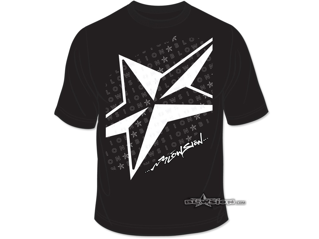 Black t shirt front view - Blowsion 5 Star T Shirt Black Front View