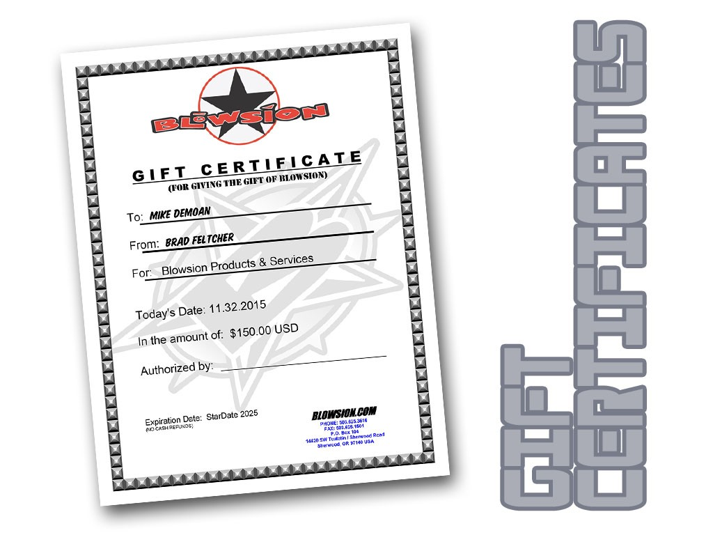 blowsion blowsion gift certificate