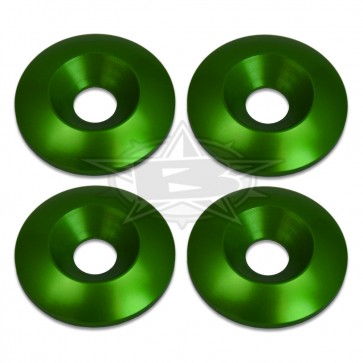 Blowsion 8mm Billet Conical Washers - Anodized Green - PN#04-04-017