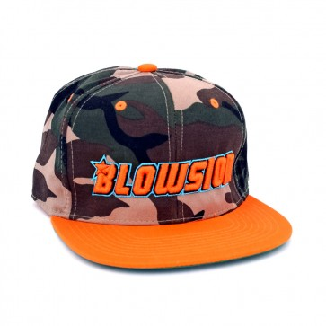 Blowsion Snapback Camo Hat - Orange Logo with Light Blue Outline