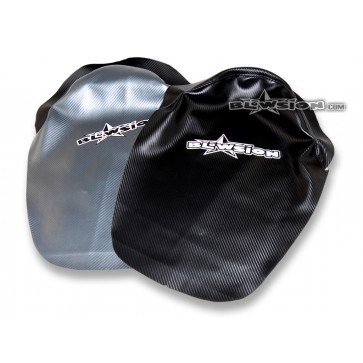 Chin Pad Cover - Staple On - 95-Older SJ - Front: Gun-Metal Carbon / Back: Carbon Black
