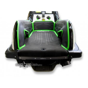 Mat Kit - Stitched - Kicker Footwells - SXR - Composite Rails - Bottom: Naugahyde Black - Sides/Dash: Carbon Black - Trim: Kawasaki Green