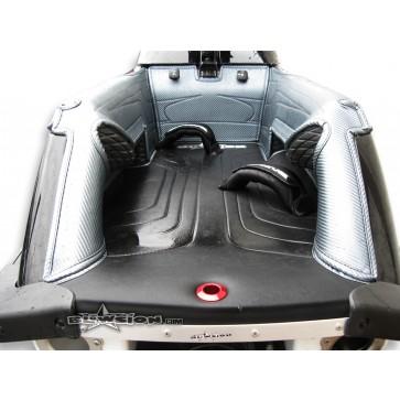 Mat Kit - Stitched - Klowners - 96+ Superjet - Bottom: Naugahyde Black - Sides/Dash: Carbon Gun-Metal - Trim: Carbon Gun-Metal