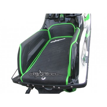 Mat Kit - Stitched w/ Freestyle Lifters - Composite Rails - Bottom: Naugahyde Black - Sides/Dash: Carbon Black - Trim: Kawasaki Green