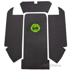 Mat Kit - Hydro Turf - Stock Tray - Kawasaki 750 (Black Diamond / Green Logo)