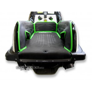 Mat Kit - Stitched - Kicker Footwells - SXR - Composite Rails - Bottom: Naugahyde Black - Sides/Dash: Carbon Black - Trim: Kawasaki Green
