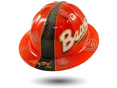 Blowsion Custom Painted Oregon State Ducks Unlimited Charity Auction hardhat
