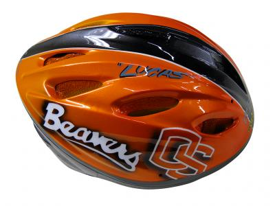 Blowsion Custom Paint - Oregon State - charity bicycle helmet 2