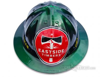 Blowsion Custom Painted Eastside Soccer Club and Timber Joey Auction Helmet
